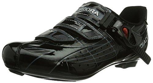 Diadora TRIVEX PLUS Unisex-Erwachsene Radsportschuhe – Rennrad, Schwarz (Schwarz/Schwarz), 41