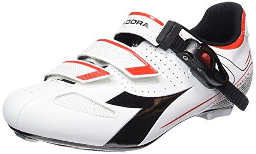 Diadora TRIVEX PLUS II, Unisex-Erwachsene Radsportschuhe – Rennrad, Weiß (weiß/schwarz/rot1470), 42 EU