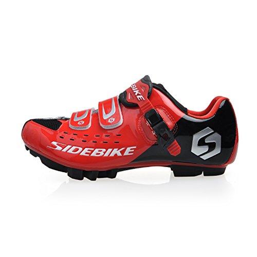 Herren Damen MTB Fahrrad Schuhe Radschuhe EU Größe 42 Fusslänge : 270mm Vorfuß Breite 88.74mm,Schwarz/ rot