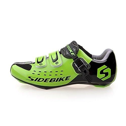 Herren und Damen Straßenrennschuh Comp Rennrad Schuhe Größe EU 45 Fuß-Länge 290mm Vorfuß Breite 93.57mm-Schwarz und Grün