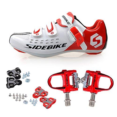 TXJ Rennradschuhe Fahrradschuhe Radsportschuhe mit Klickpedale EU Größe 44 Ft 27.5cm (SD-001 Weiß / Rot)(pedale rot)