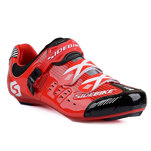 Herren/ Mann Professionelle Radschuhe Rennrad Fahrradschuhe EU Größe 44 Ft 27.5cm Rot/Schwarz (Wählen Sie eine Größe mehr als üblich)