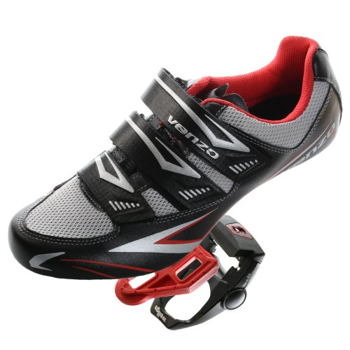 Venzo Klick-Schuhe & Pedale für Rennrad Shimano Spd Sl schwarz, schwarz, 45