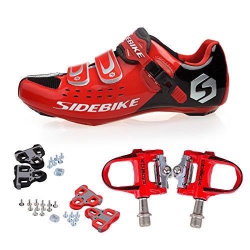 TXJ Rennradschuhe Fahrradschuhe Radsportschuhe mit Klickpedale EU Größe 45 Ft 28.5cm (SD-001 Rot / Schwarz)(pedale rot)